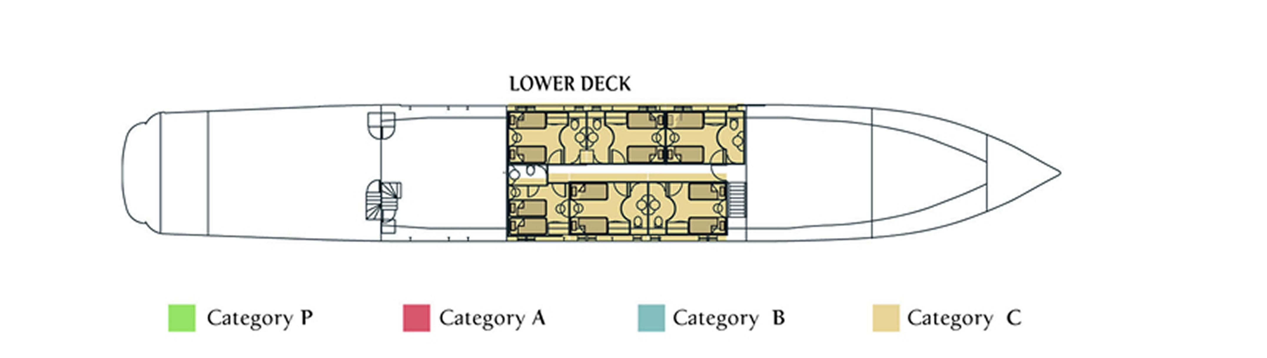 M/Y Harmony G, Lower Deck
