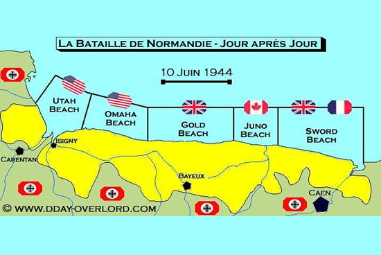 Playas del desembarco, mapa