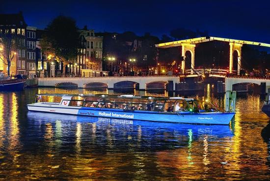 Ámsterdam de noche, bateau mouche